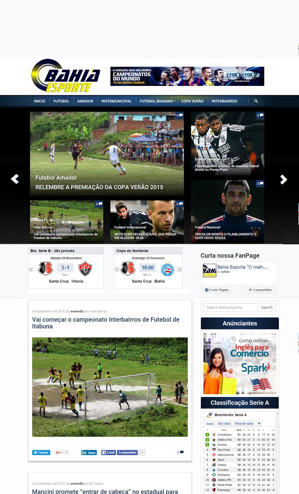 Modelo Site de Esporte e Notícia
