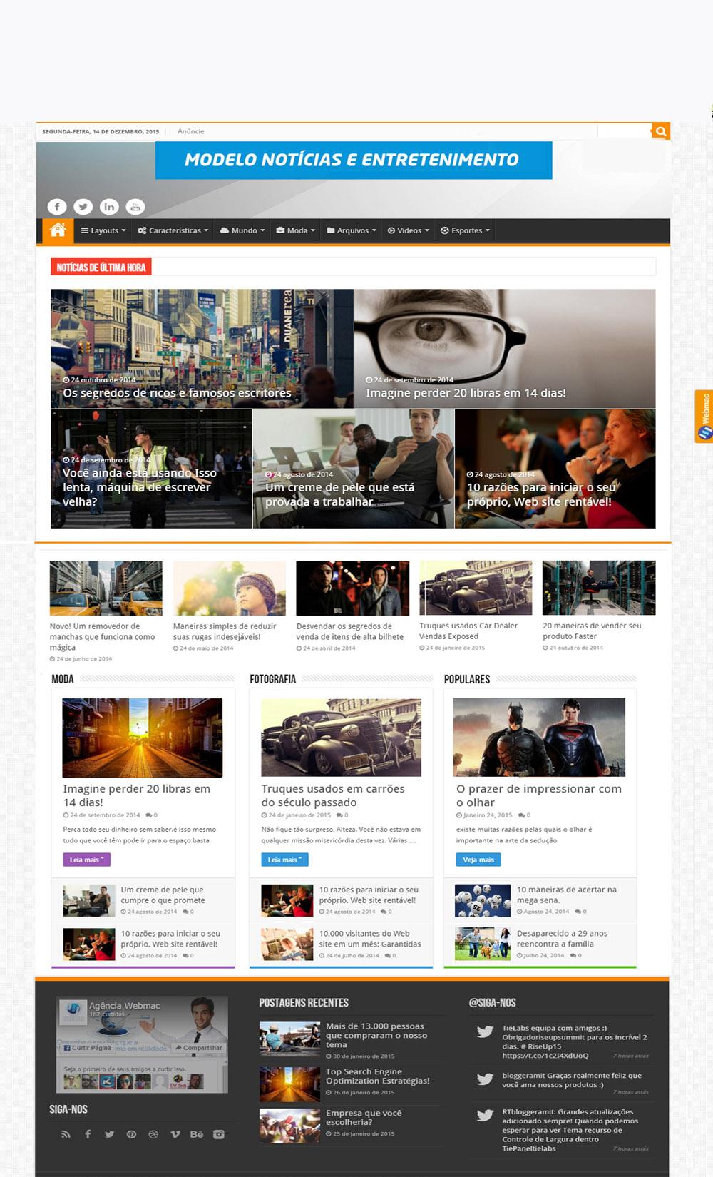 Modelo Site de Entretenimento