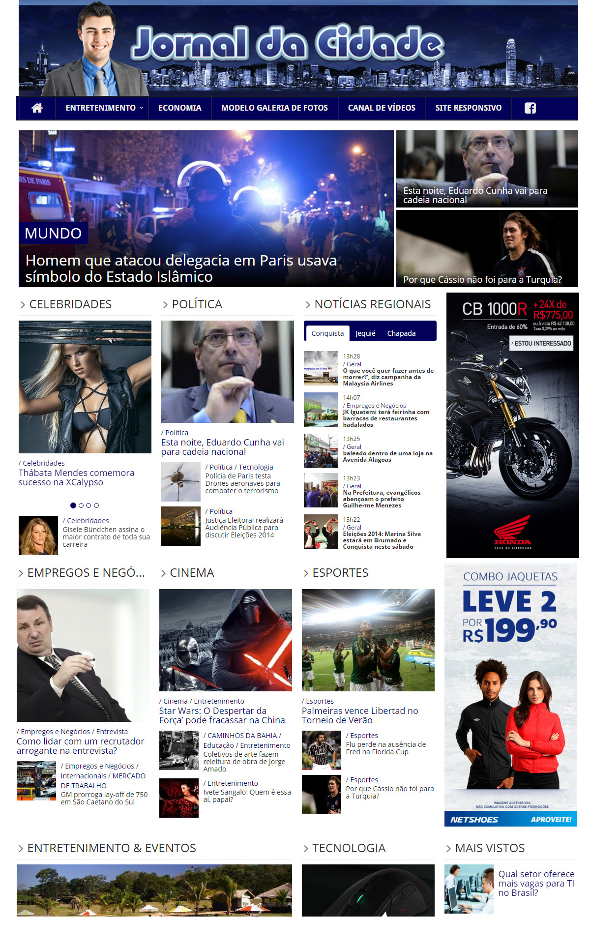 Modelo de site Jornalistico Portal da Cidade.